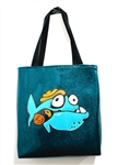 Limited Edition Glitter Vinyl Tote - Silly Fish