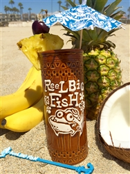 Silly Fish Tiki Glass w/swizzle sticks & drink umbrellas