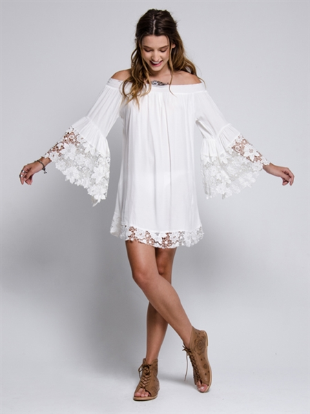 Muche et Muchette Venus Flower Lace Off The Shoulder Dress