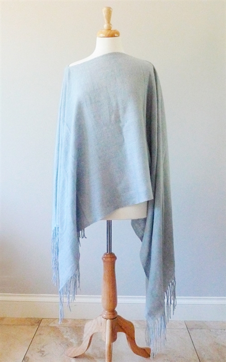 Yak Mountain Looms Pure Cashmere Handspun Woven Poncho with Fringe
