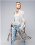 Aspen True 100% Cashmere Shawl with Long Genuine Leather Fringe