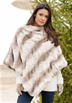 Fabulous Furs Truffle Chinchilla Couture Faux Fur Poncho