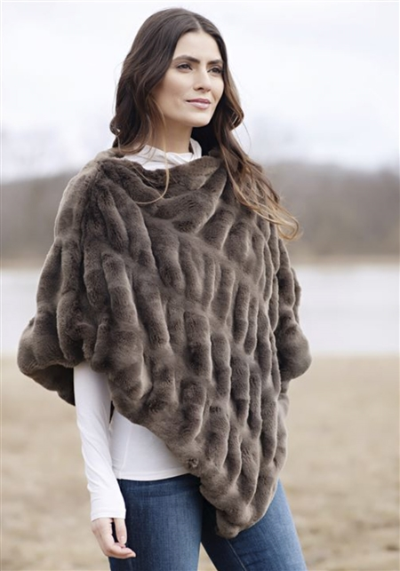 Fabulous Furs Taupe Mink Couture Faux Fur Poncho