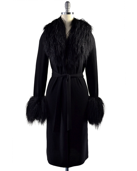 Aspen True Cashmere Duster with Tibetan Sheep Fur Trim