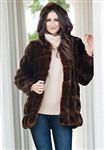 Fabulous Furs Mahogany Mink Couture Hooded Faux Fur Jacket