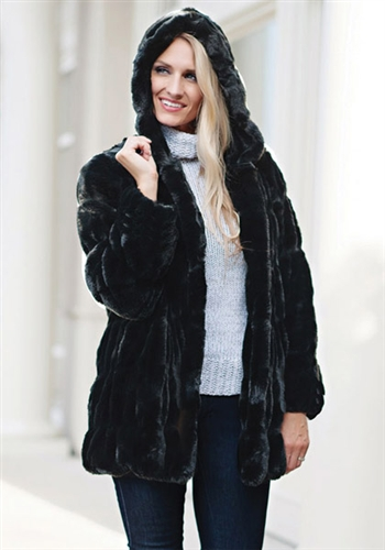 ef02beb01b917 Fabulous Furs Onyx Mink Couture Hooded Faux Fur Jacket
