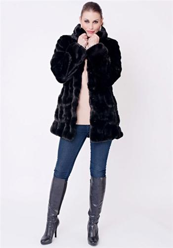 77d0012e5 Fabulous Furs Onyx Mink Couture Hooded Faux Fur Jacket