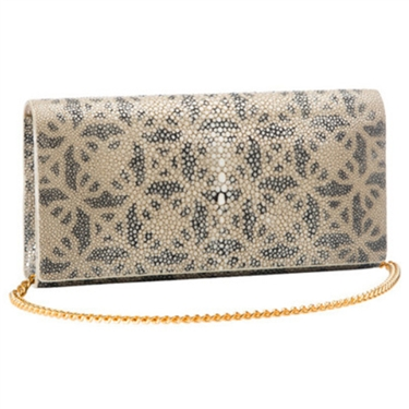 VIVO Geometric Print Genuine Shagreen Perfect Clutch