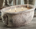 Zodax La Belle Maison Cement 4 Wick Wax Filled Pot