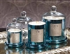 Zodax Apothecary Guild Scented Candle Jar with Glass Dome - Blue / Medium