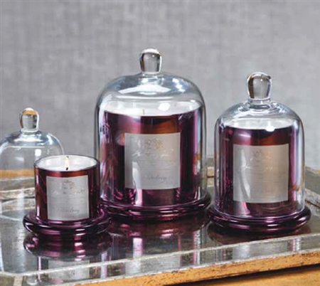 Zodax Apothecary Guild Scented Candle Jar with Glass Dome - Plum / Small