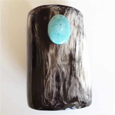 VIVO Studio Dark Buffalo Horn Cuff with Turquoise
