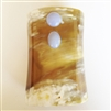VIVO Studio Light Buffalo Horn Cuff with Blue Lace Agate Cabochons