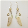 Annie Hammer Sterling Silver Multi Chain Earrings with Bone Tusk & Phrenite