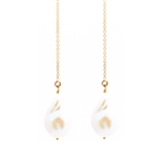 White Baroque Pearl Adjustable Threader Lillypad Earrings with 14K Gold Fill Chain