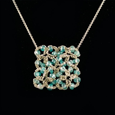 Danielle Welmond Woven Gold Flowers Square with Blue Zircon Necklace