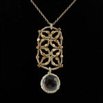 Danielle Welmond Gold Cord Rectangle with Vermeil Beads and Caged Crystal Necklace