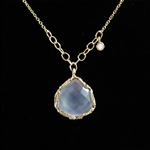 Danielle Welmond Blue Chalcedony and Dangling Diamond Gold Lace Necklace