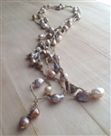 Mela Light Gold Silk and Bronze/pink Baroque Pearl Necklace