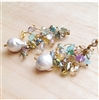 MELA Multicolor Stones and Crystal Pearl Earrings