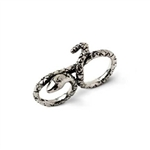 Paz Collective Sterling Silver Snake Double Ring