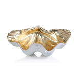 Zodax Gold and White Resin Shell Bowl