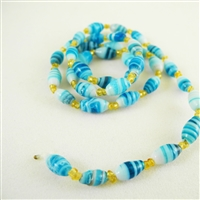 Vintage Glass Beads from India - Blue Oval - 5mm x 8mm