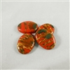 Vintage, resin, oval cabochons - Rust with streaks of iridescent green and gold. 18mm x 25mm. Qty. 4