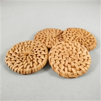 Vintage, w - Rust wicker disks - natural - 30mm diam. Qty. 4