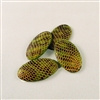 Vintage Resin Snakeskin Cabochon - Green - 13mm x 24mm. Qty. 4