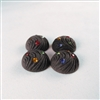 Vintage Resin Cabochon with multi-color Rhinestones - Charcoal - 18mm diam. Qty. 4
