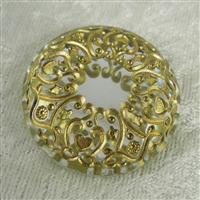 Vintage Acrylic Cabochon - Round Filigree Foil-Back