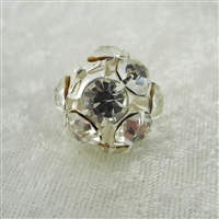 Vintage Rhinestone Bead - Crystal on Silver 18mm