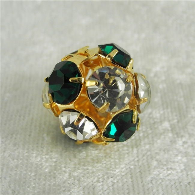 Vintage Rhinestone Bead - Clear/Green Crystal on Gold 18mm