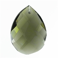 "Glass Chandelier Crystal - 1 1/2"" tall by 1"" wide pear-shape with single front-to-back hole-drilling at top. Color - Black Diamond."