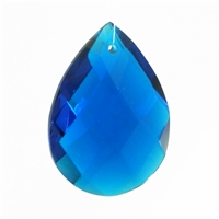 "Glass Chandelier Crystal - 1 1/2"" tall by 1"" wide pear-shape with single front-to-back hole-drilling at top. Color - Capri Blue."