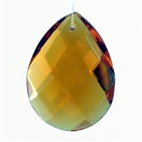 "Glass Chandelier Crystal - 1 1/2"" tall by 1"" wide pear-shape with single front-to-back hole-drilling at top. Color - Dark Topaz."