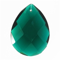 "Glass Chandelier Crystal - 1 1/2"" tall by 1"" wide pear-shape with single front-to-back hole-drilling at top. Color - Emerald."