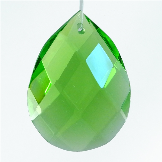 "Glass Chandelier Crystal - 1 1/2"" tall by 1"" wide pear-shape with single front-to-back hole-drilling at top. Color - Peridot."