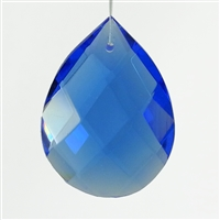 "Glass Chandelier Crystal - 1 1/2"" tall by 1"" wide pear-shape with single front-to-back hole-drilling at top. Color - Sapphire."