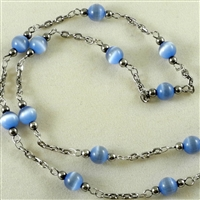 "Bead Chain, Blue Cats Eye with Silver-Oxide, 12"" length"