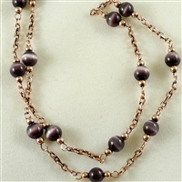 "Bead Chain, Purple Cats Eye with Copper-Oxide, 12"" length"