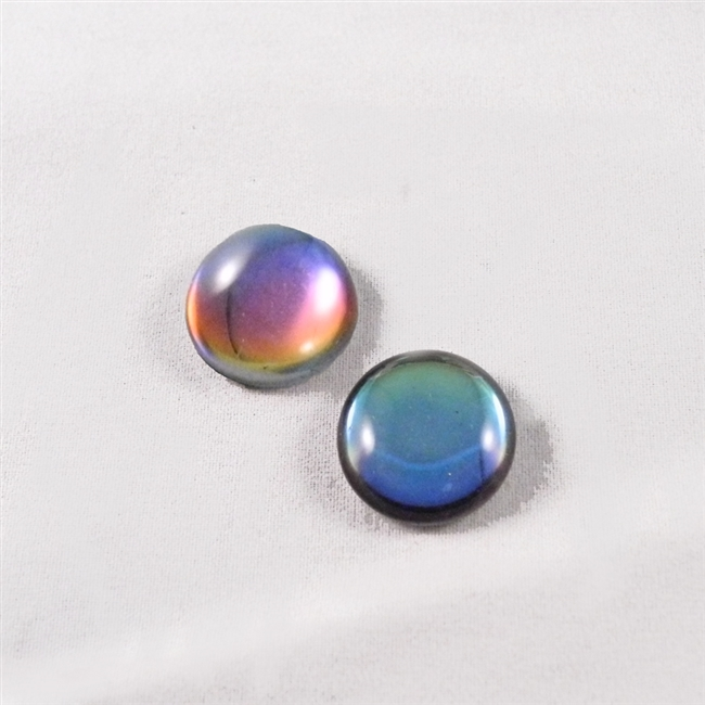 Czech Glass Cabochon - 18 mm round - 2 per package - BACKLIT PETROLEUM