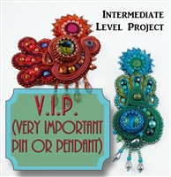 Soutache & Bead Embroidery - V.I.P. (Very Important Pin or Pendant)