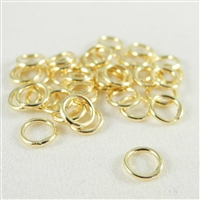 6mm soldered Jump Rings. Gold Plate. There are 25 pieces in a package.