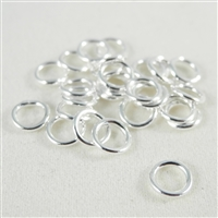 6mm soldered Jump Rings. Silver Plate. There are 25 pieces in a package.