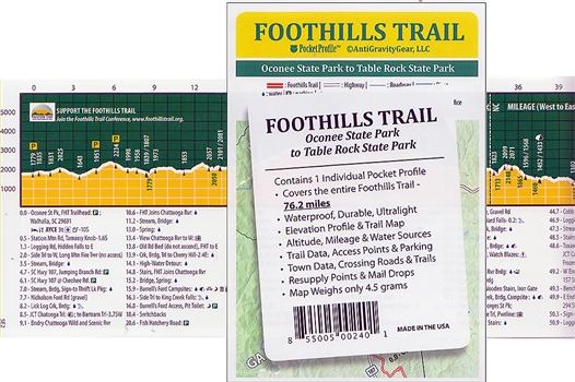 Foothills Trail Map and elevation profile
