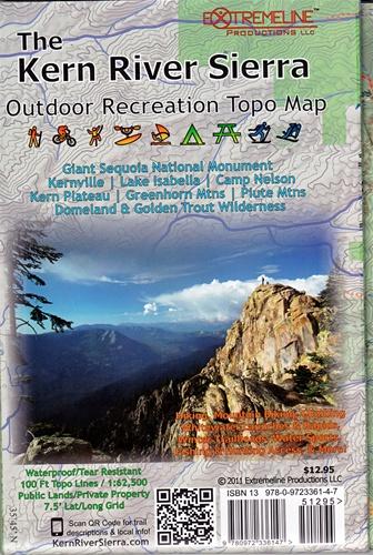 Kern River Sierra Outdoor Recreation Topo Map on map of tehachapi mountains, map of san gabriel mountains, map of sierra madre mountains, map of los gatos mountains, map of southern california mountains,