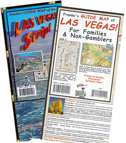 Two maps for Las Vegas, one for the Strips, hotels, restaurant and Map Of The Vegas Strip S on