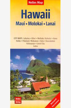 Map of Hawaiian Islands  of Maui, Molokai and Lanai
